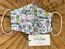 Load image into Gallery viewer, Doodle Girl Power Rainbow Fabric Face Mask - FaceWedge Singapore Breathable Washable Reusable Seven Clean Seas