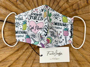 Doodle Girl Power Rainbow Fabric Face Mask - FaceWedge Singapore Breathable Washable Reusable Seven Clean Seas
