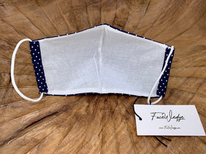 Blue Polkadot Fabric Face Mask - FaceWedge