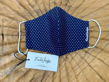 Load image into Gallery viewer, Singapore Breathable Washable Reusable Navy blue polkadot Fabric Face Masks - FaceWedge