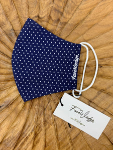 Singapore Breathable Washable Reusable Navy blue polkadot Fabric Face Masks - FaceWedge