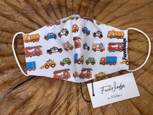 Load image into Gallery viewer, Trucks and Cars Fabric Face Mask- FaceWedge Singapore Breathable Washable Reusable
