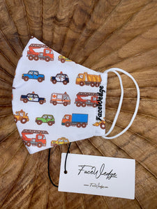 Trucks and Cars Fabric Face Mask- FaceWedge Singapore Breathable Washable Reusable