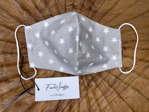 Grey Star Fabric Face Mask - FaceWedge Singapore Breathable Washable Reusable  - FaceWedge Singapore Breathable Washable Reusable