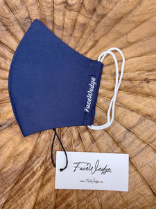 Singapore Breathable Washable Reusable Navy blue Fabric Face Masks - FaceWedge