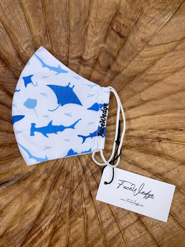 hammerhead shark and manta ray ocean Fabric Face Mask - FaceWedge Singapore Breathable Washable Reusable