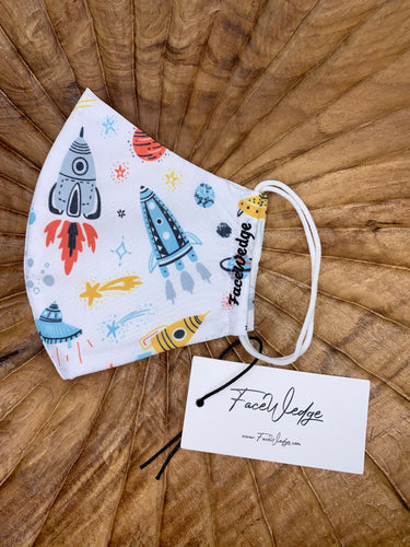 Space & Rockets Fabric Face Mask - FaceWedge Singapore Breathable Washable Reusable