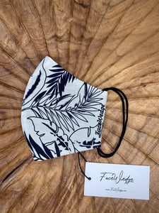 Dark lining - White Palm Fabric Face Mask - FaceWedge
