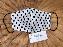 Load image into Gallery viewer, Dark lining - Black and White Polka Dot Fabric Face Mask - FaceWedge