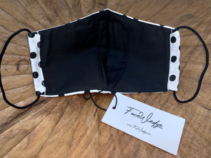 Dark lining - Black and White Polka Dot Fabric Face Mask - FaceWedge