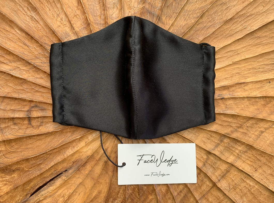 Black Mulberry Silk Face Mask - FaceWedge