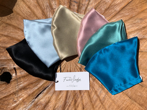 Teal Blue Mulberry Silk Face Mask - FaceWedge