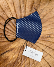 Load image into Gallery viewer, Dark lining - Navy Blue Polkadot Fabric Face Mask - FaceWedge