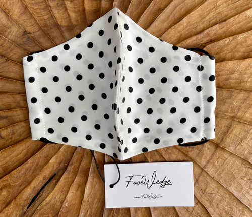 Black and White Polkadot Mulberry Silk Face Mask - FaceWedge