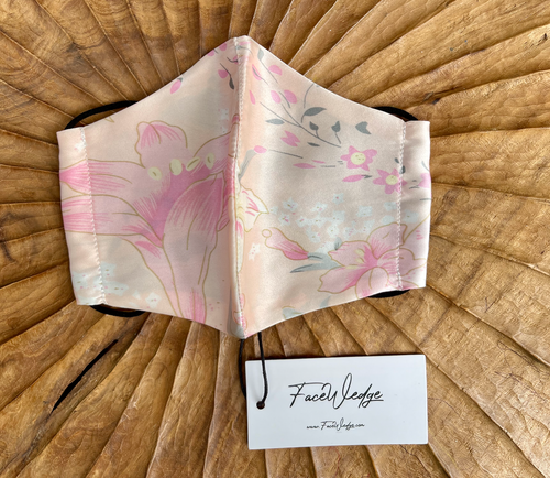 Floral Pink Mulberry Silk Face Mask - FaceWedge