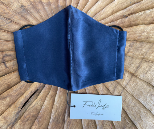 Midnight Blue Mulberry Silk Face Mask - FaceWedge