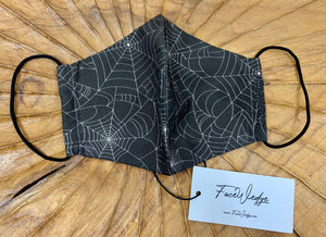 Black Spider Web Fabric Face Mask - FaceWedge