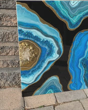 Load and play video in Gallery viewer, Geode Inspired Blue, Black & Gold Wall Artwork