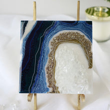 Load image into Gallery viewer, Mini Geode Inspired Artwork with Quartz Crystals