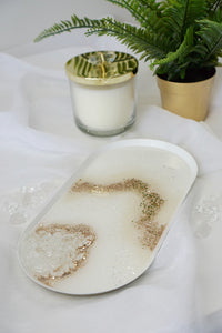 Agate Decorative Tray with Quartz Crystals