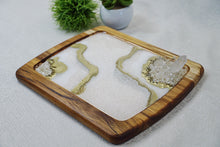 Load image into Gallery viewer, Geode Inspired Decorative Acacia Tray
