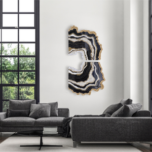 Gilded Onyx - Geode Inspired Crystal Wall Artwork