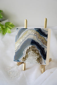 Mini Geode Inspired Artwork with Quartz Crystals