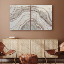 Load image into Gallery viewer, Beige & Boujee Quartz Diptych Geode Artwork