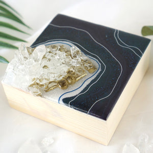 Micro Geode Inspired Artwork with Quartz Crystals