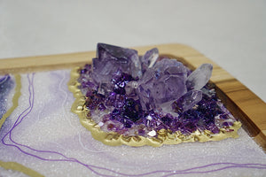 Geode Inspired Decorative Acacia Tray