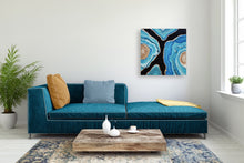 Load image into Gallery viewer, Geode Inspired Blue, Black & Gold Wall Artwork