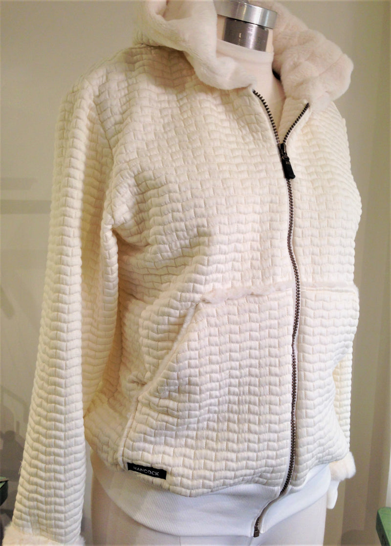 Creme Finland Knit Jacket with Fur Lined Hood