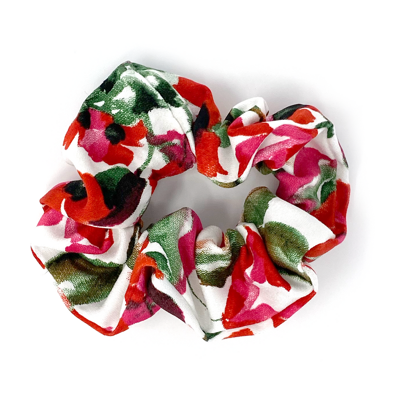 Scrunchie - Red, Pink, White, Floral