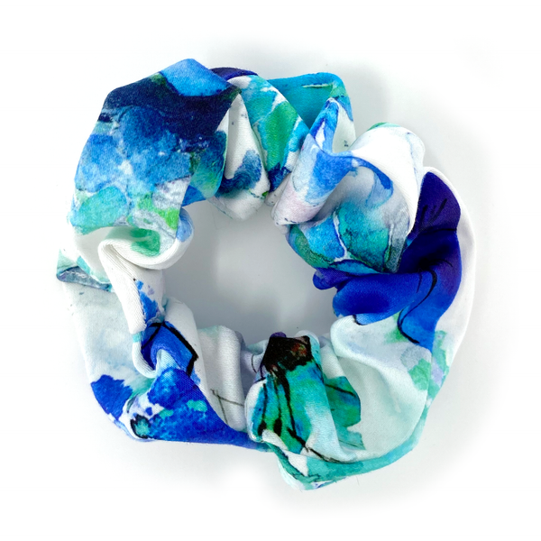 Scrunchie - White, Aqua, Green, Floral