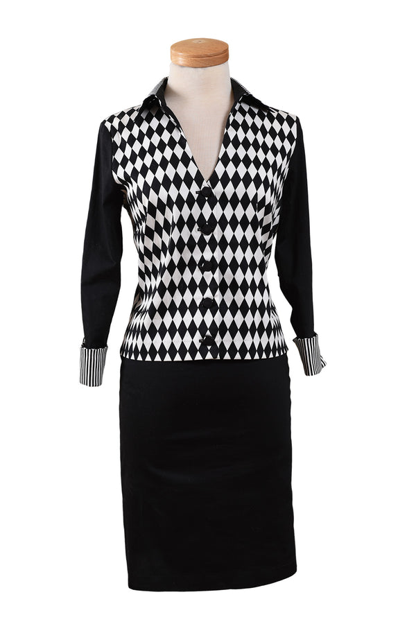 Shirt Style Top with French Cuffs and Stretch Pencil Skirt