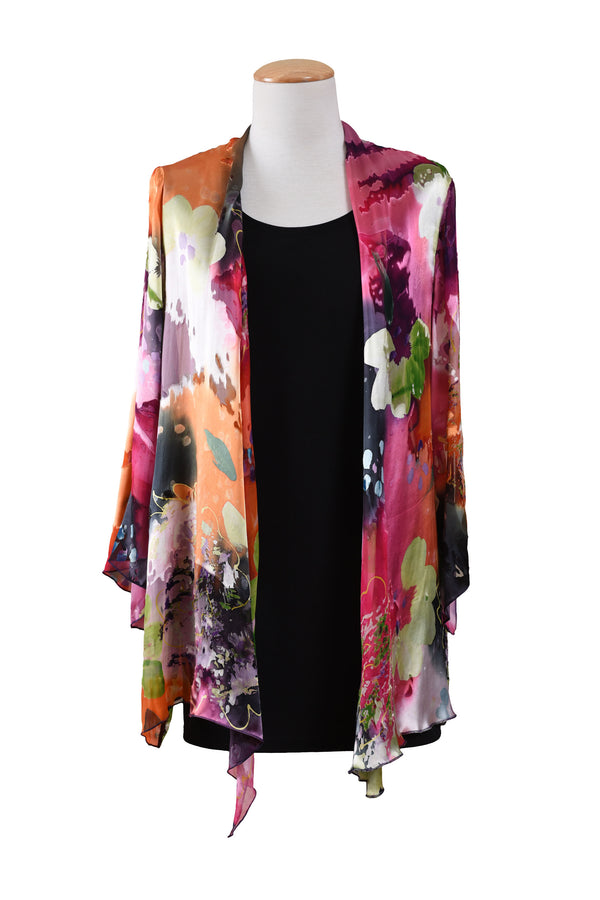 Chiffon Jacket with Asymmetrical Hemline and Shawl Collar