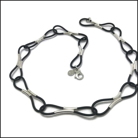 loops necklace sterling silver & black rubber - made to order