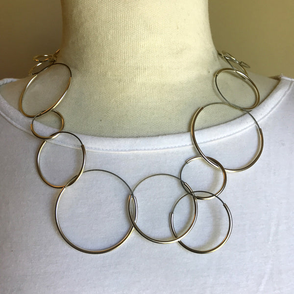 circles sterling and stainless necklace