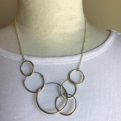 circles sterling silver and stainless steel necklace