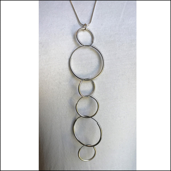 circles sterling silver and stainless steel long necklace