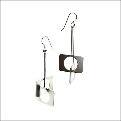 crossed rectangles with circles earrings