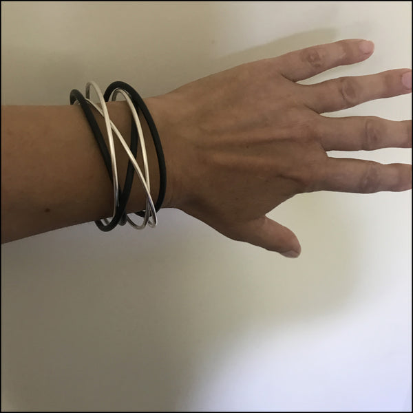 cuff bracelet sterling silver and black rubber - made to order
