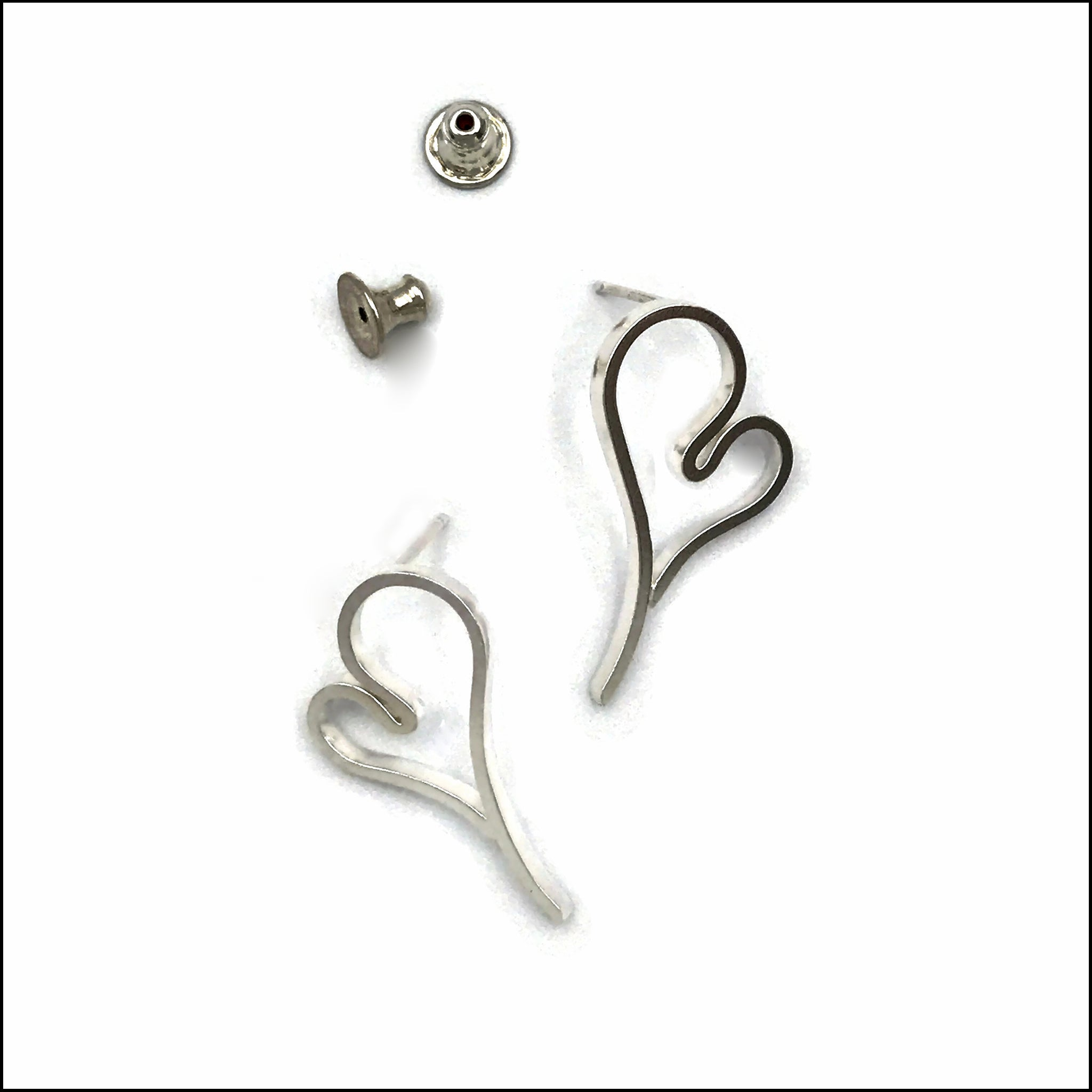heart post earrings 2-1 - made to order