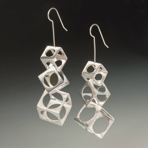 3 tiered cubes with circles earrings- made to order