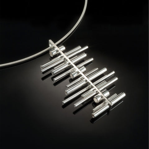 linear suspension - sterling silver pendant necklace