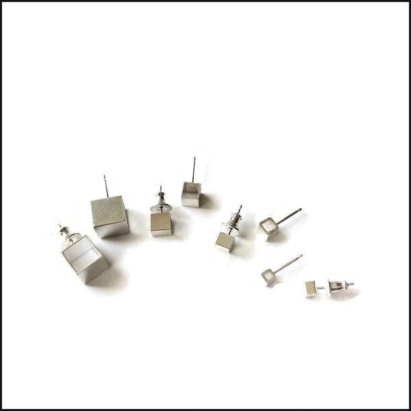 open cube post earrings