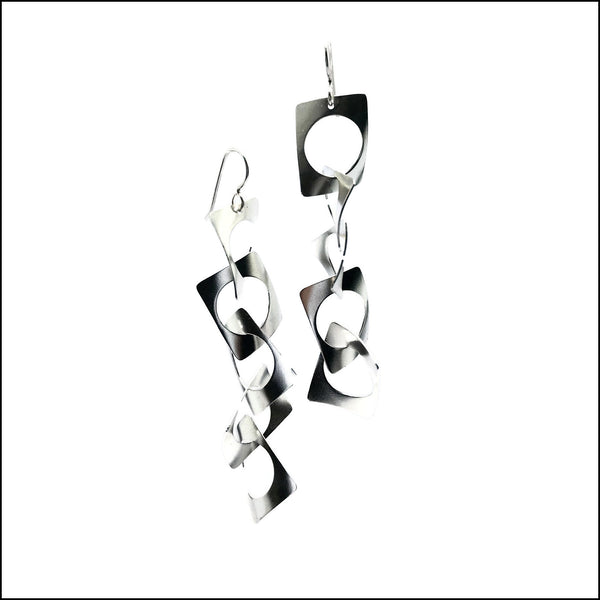 5 tiered cricle-in-rectangles waves earrings - made to order