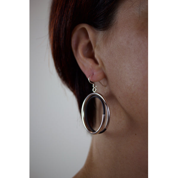 spiral tube hoop earrings sterling silver & black rubber