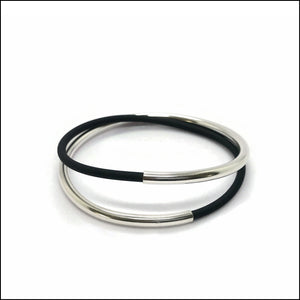 spiral tube sterling silver & black rubber bracelet