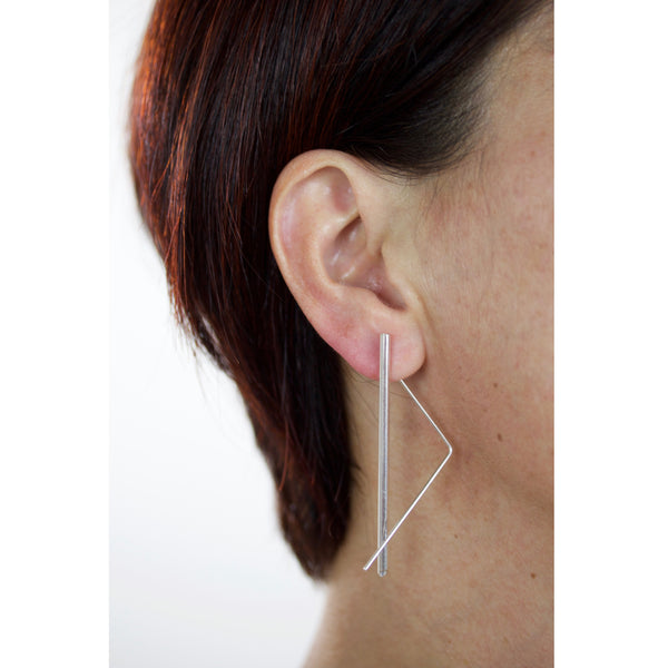 triangle with tube threader earrings